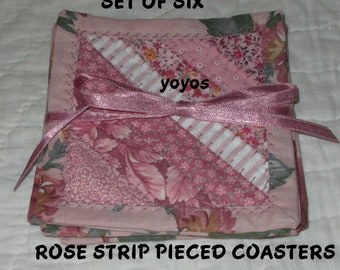 COASTERS, Rose, Patchwork,  Set of Six,  Home Décor, Holiday Décor,  Gifts for Women,  Hostess Gift, Birthday, Table Decor, Garden Decor