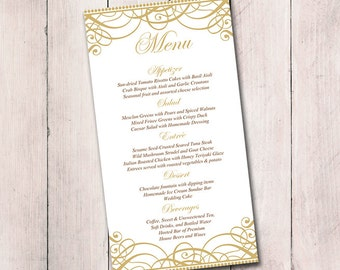 "Gold Wedding Menu Card Template -  Wedding Reception Menu - Flourish Gold ""Exquisite"" Menu Printable Download - Formal Wedding Menu"