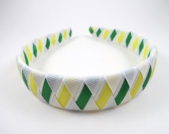 Green Yellow and White Headband - White Headband - Green Headband - Yellow Headband - Ribbon Woven Hard Headband - Braided Headband