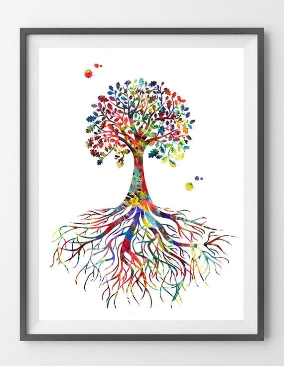 Baum des Lebens Symbol Aquarell Druck verwurzelt Baum des