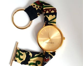"Watch Berhenti, collection ""in the heart of Beirut"" fabric strap"