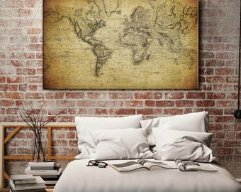 Antique Old World Map Wall Art Canvas Print, World Map Push Pin Wall Art Canvas Print, Rustic World Map Wall Art Canvas Print