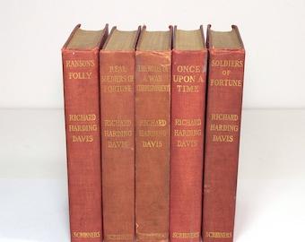 Antique Richard Harding Davis Red Books Instant Library Decorating Set of Five