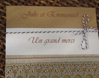 Carte remerciements gamme  mariage dentelle 