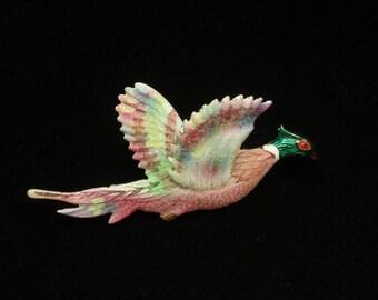 Pheasant in Flight Bird Brooch Pin