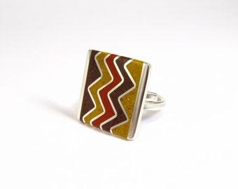 Sterling Silver Ring, Chevron, ZigZag, Geometric, Contemporary, Modern