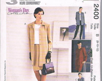 McCall's 2400/Misses/3 Hour Separates/Unlined Jacket/ Top/Pull On Pants/Skirt/Sizes 8-10-12/Uncut