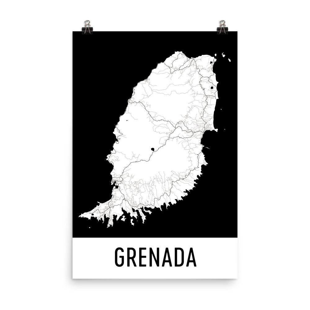 Grenada Karte Grenada Kunst Grenada Druck Grenada Insel