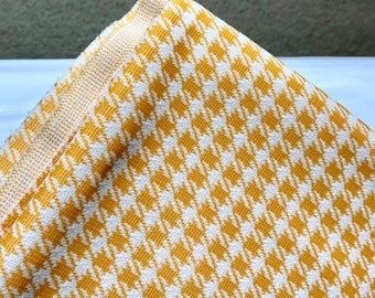 Vintage 1960's Mod Yellow Checkered Polyster Fabric