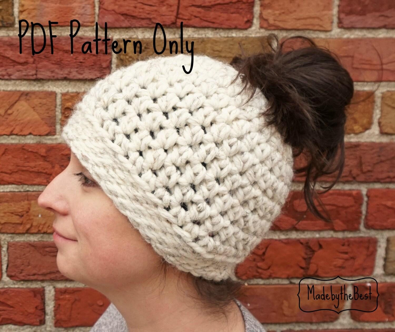Messy Bun Hat Crochet Pattern - Ponytail Hat Pattern - Crochet Messy ...