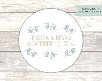 Wedding stickers - Wedding favor stickers - Wedding favor labels - Wedding thank you stickers - Rustic wedding stickers (RW083)