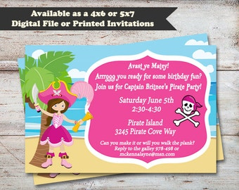 Pirate Girl Birthday Party Invitations, Pirate Party Invitations, Pirate Party, Pirate Girl, Digital File or Printed Invitations