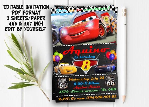 Instant download disney cars invitation disney cars birthday solutioingenieria Images