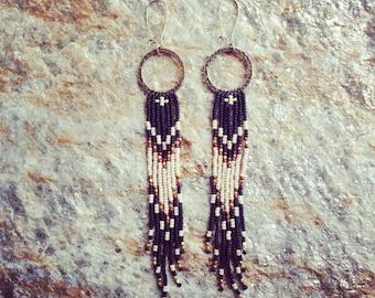 Seed Bead Fringe earrings, Native American Inspired, Boho Earrings, Seed Bead Fringe Earrings, Hoop with Beads, Southwestern Earrings