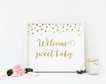 Gold Welcome Sweet Baby Sign, Welcome Baby Shower Sign, Gold Confetti Baby Shower Decorations, Gold Glitter, Digital Print, DIY - CG1