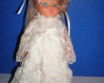"Furga Bride made in Italy, blonde hair, blue eyes, white wedding dress w/ veil 9.5"" Dakin"