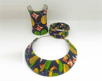 Finery wax(pagne africain) colors yellow green blue fabric