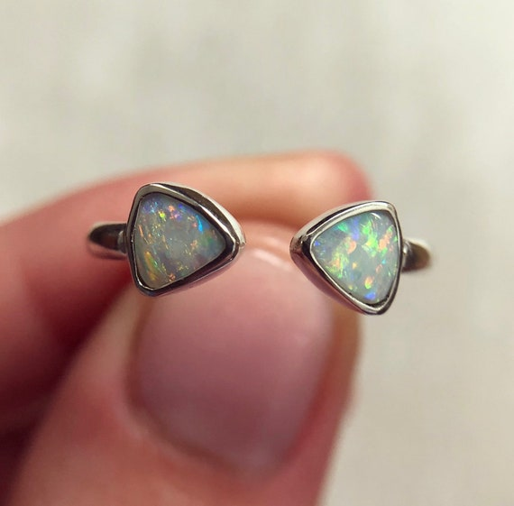 "Sterling silver ""Aria"" ring with Australian crystal opals SZ 6"