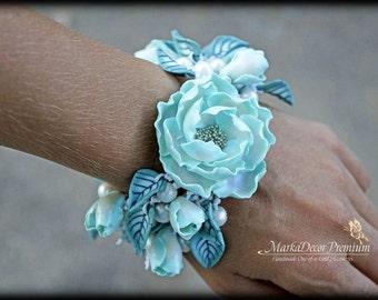 READY TO SHIP Birthday Bridal Jewelry Flower Bracelet Wedding Custom Jewelry Cuff Peony Beach Wedding Bracelet  in Aqua Mint and White