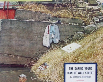 1945 Norman Rockwell Art for Saturday Evening Post Cover - Salesman Skinny Dipping in Swimming Hole - Funny Art Print