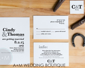 Classic Wedding Invitation, Printable Invitations, Modern invitation set: CLASS ACT