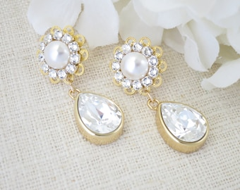 Swarovski crystal and pearl drop earring, Gold teardrop wedding earring, Filigree post drop bridal earring