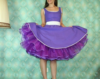 50's vintage dress full skirt purple with white baby polka dots  Pinup retro Tailor Made