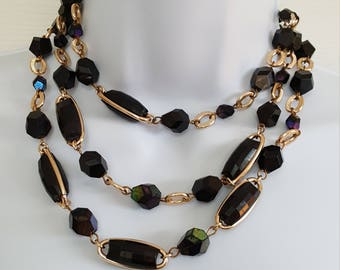 Stunning Vintage 3 Strand Black Iridescent Beaded Gold Tone Choker Necklace Made in West Germany