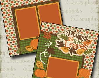 PLAYING in the LEAVES  - 2 Premade Scrapbook Pages - EZ Layout 2173