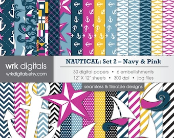 Nautical - Set 2 Navy & Pink - Seamless Digital Paper Pack, Digital Scrapbooking, Instant Download, Anchor, Boat, Ocean, Sea