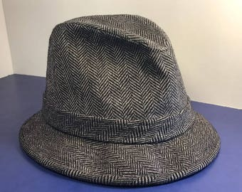 VINTAGE PENDLETON FEDORA hat cap Woolen Mills virgin wool 100% black gray beige striped zig zag size 6 and 7/8