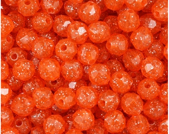 BeadTin Hyacinth Orange Sparkle 8mm Faceted Round Plastic Craft Beads (450pcs)