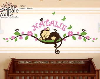 Monkey wall decal on blossom tree branch with name,birds and butterflies for nursery. Personalized monkey and name.