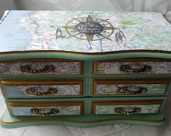 "Custom jewelry box ""Not All Who Wander Are Lost"" with maps, gold accents"