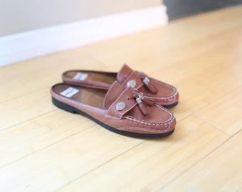 vintage brown leather tassel loafer  mules womens 11