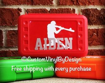 Personalized Pencil Box, Baseball, Baseball Player, Art Box, Personalized Crayon Box, Plastic School Box, Plastic Pencil Box, Pencil Case
