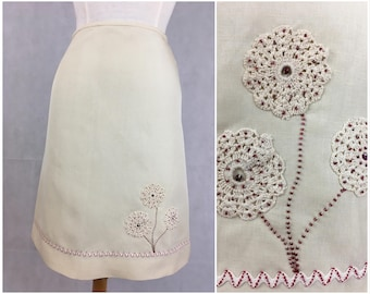 New A line cream linen skirt with beading size 10