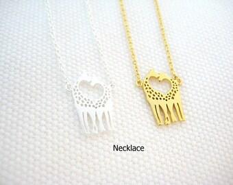 Twin Giraffe Necklace, Baby Animal Necklace, Gold Giraffe, Minimalist Jewelry, Birthday Gift, Everyday Wear