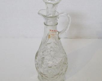 Early American Pressed Glass Vinegar Cruet Clear Glass Serving