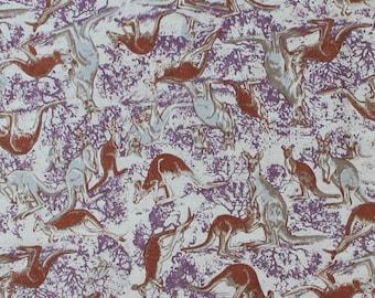 KANGAROO NATURAL - Australian Aboriginal Quilting Fabric - sold by 1/4 metre or Fat Quarter