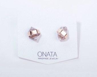 Herkimer Diamond Earrings Herkimer Diamond Jewelry Raw Crystal Jewelry Gold Stud Earring Boho Jewelry Minimal Jewelry Gifts for Her Wedding