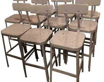 Industrial Stools of Painted Steel Set of Ten from High School Chem Lab