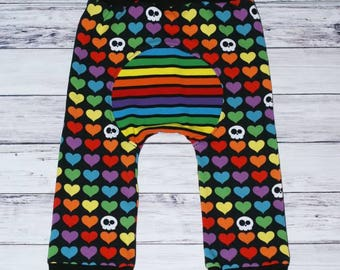 Maxaloones - Grow With Me Pants - Cloth Diaper Pants - Baby Leggings - Rainbow Heart Skulls - Loones -Size 1 (6m-3yrs) - Ready To Ship