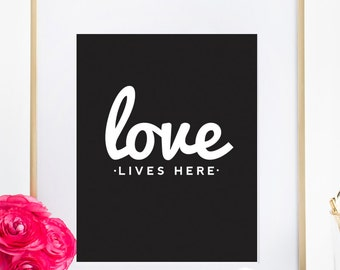 Motivational LOVE Quote Typography Bedroom Poster Home Decor Wall Art