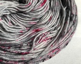 Hand-dyed yarn, Indie dyed yarn, hand dyed yarn I <3 NY GREY-- dyed to order -- Times Square sock weight merino/nylon yarn