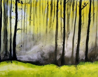 Forest painting - A3 - 16x12in  - boreal nordic forest landscape 2