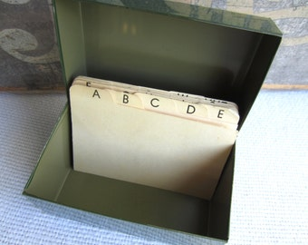 Vintage Small Industrial File Box in Dark Army Green with Alphabet Dividers