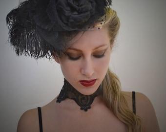 Black Ostrich Feather Fascinator - Hairpiece