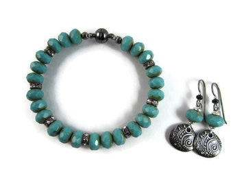 Beaded Bracelet and Earring Set with Turquoise Czech Glass Beads and Magnetic Clasp and Hypoallergenic ear wires, Niobium Earrings