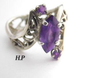 Vintage Handmade Sterling Silver Natural AAA Amethyst Ring ( Size 6 )